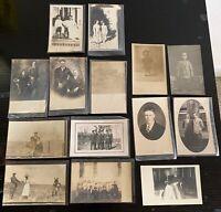 Lot of 14 Original Vintage Postcards - All RPPC - Families, Kids, Mule, People