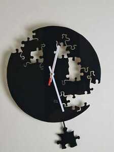 Pendulum Wall Clock Australian Made Glossy Acrylic Puzzle Art Alpha Clocks