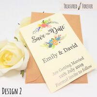 Personalised Wedding Save the Date Cards with Envelopes Magnetic Floral