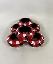 New listing Wooden Napkin Rings Great For Picnic Basket Ant Plaid Red Blanket Set Of 6