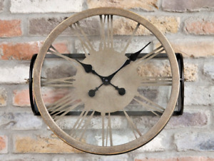 Gold Metal Wall Clock Roman Numeral Industrial Style