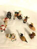 Lot Of 10 Vintage Ceramic Plastic Wooden Christmas Ornaments Figurines Animals