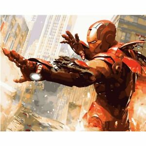 Iron man Painting By Numbers Kits Includes Paints Brush Board Marvel