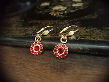Vintage Ruby Red Crystal Round  Daisy Drop Pierced Hook Earrings