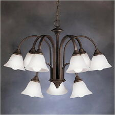 Kichler Tannery Bronze And Etched Seedy Glass 9 Light Chandelier