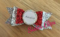 "Girls Handmade personalised ANY NAME diamante red silver glitter 4"" hair bow"