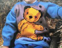 Knitting Pattern Sooty Bear Children's Sweater Jumper Chest 24 - 36in DK