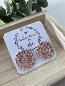 handmade polymer clay earrings Light brown