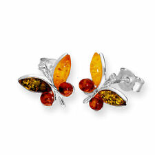 925 Real Sterling Silver & Multicoloured Baltic Amber Butterfly Stud Earrings