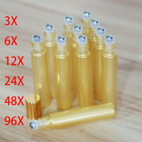 Gold Glass Roll On Roller Bottles 10 ml for Essential Oils, Perfume LOT SET