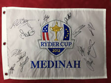 Team Europe Fully Signed 2012 MEDINAH Ryder Cup Golf Flag B Autograph AFTAL COA