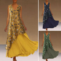 Women Floral Print Sleeveless Loose Summer Casual V Neck Party Long Maxi Dress