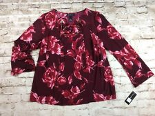 INC Womens Top 1x Tie Lace Up Neck Floral Red Rose Plus Size Stretch New