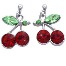 Red Crystal Cherry Fruit Charm Dangle Post Earrings Jewelry Gift For Girls