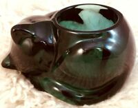 Indiana Glass Sleeping Cat Glass Votive Gift for Cat Lovers Green Heavy Vintage
