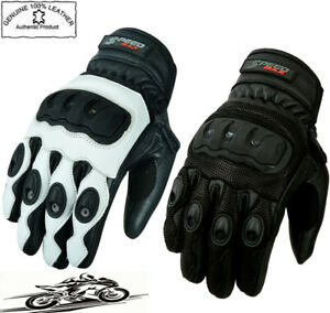 MENS PROTECTIVE KNUCKLE SHORT VENTED SUMMER MOTORBIKE MOTORCYCLE LEATHER GLOVES