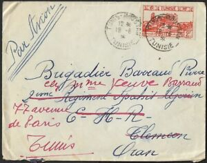 Tunisia 1912 Cover by Airmail Re-directed to Tunisia CDS Dated 18/06/12