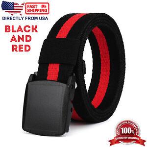 Nylon Webbed Belt, Casual Unisex Belt, Plastic Buckle, No Metal Parts