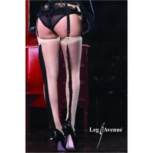 SEAMED STOCKINGS Sheer Spandex Fringe Backseam Seamed Burlesque LEG AVENUE