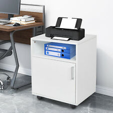 Mobile Office Cabinet Wood Rolling File Cabinet Printer Stand With Open Shelf