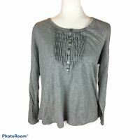 J Jill Pleated Bib Henley Top Gray Grey Scoop Neck Long Sleeve Womens Medium