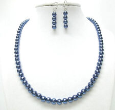 """6mm Navy Blue Glass Pearl Necklace and Earrings Set (17"""", Silver Plated)"""