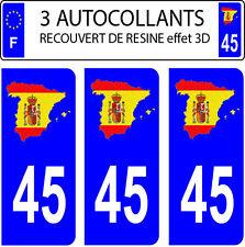 3 adesivi targa auto EFFETTO DOMING 3D RESINA BANDIERA SPAGNA N° 45