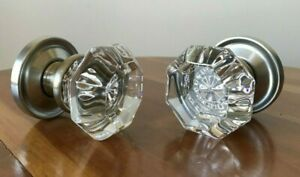 Two Crystal Glass Satin Nickel Door Knobs Vintage Reproduction Antique