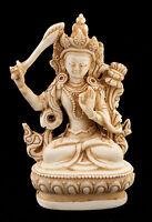 Manjushri Soprammobile Tibetano IN di Resina Budda 10 CM Bianco Antico 6036
