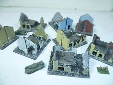 8 x Painted model ruined buildings for 6mm wargames, 1/300th and 1/285th scale