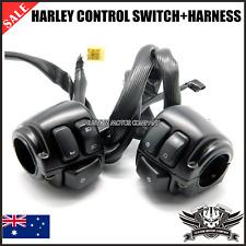 "Black 1"" Handlebar Switches + Wiring Harness Harley dyna softail sportster vrod"