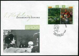 Slovenia 250-251a pair,FDC. Michel 142-143. Ivana Kobilca,painter.Paintings.1996