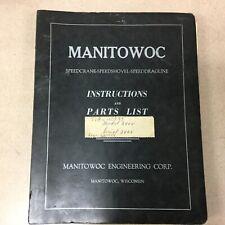 Manitowoc 3900 CRANE OPERATION & MAINTENANCE MANUAL PARTS BOOK CATALOG CRAWLER