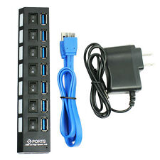 7 PORT USB 3.0 HUB 5 Gbps With Power On/Off Switch Adapter Cable For PC US