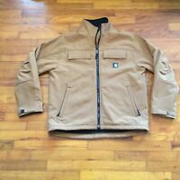 Men's CARHARTT J176 Brown Soft Shell Traditional Full Zip Work Jacket Size Large