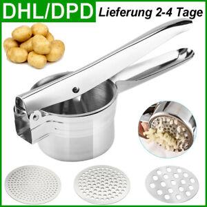 Kartoffelpresse Spätzlepresse Spaghettieis Nudelpresse 3 Lochscheiben Edelstahl