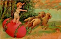 Antique Postcard PFB EASTER  Child Rides Big Pink EGG Pulled by LAMBS  Emb Gold