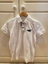 Hollister Men's Polo Pique Shirt White Size Small Navy Bird And Placket