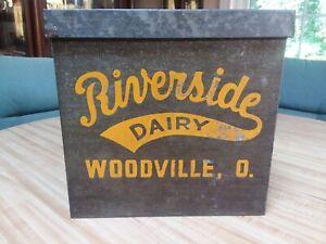 VINTAGE RIVERSIDE DAIRY WOODVILLE OHIO MILK BOTTLE PORCH COOLER GALVANIZED BOX