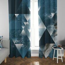 Ocean window curtains blue beige sacred geometry drapery ocean drapes water