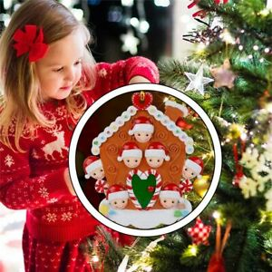 Tree Personalized Biscuit House Family Christmas Hanging Ornament Wooden