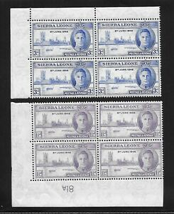 L8648 SIERRA LEONE 1946 KGVI 'VICTORY' MNH Blocks x 4  SG172-173