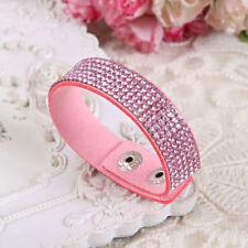Swarovski Elements Crystal Band Suede Wrap Bracelet Pink