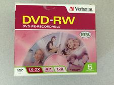 NEW Verbatim DVD-RW Re-Recordable 5 Pack