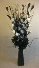 White & Black Artificial dried Bouquet in Black wood vase Conservatory Gift