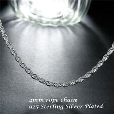 4mm Mens Womens Sterling Silver Plated Rope Twist Chain Necklace 16 18 20 22 24