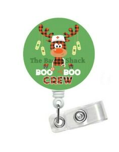Reindeer Boo Boo Crew Retractable ID Badge Holder - Christmas Badge Reel - Gift