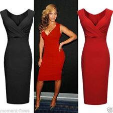 Stretch, Bodycon V Neck Regular Sleeveless Dresses for Women