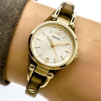 Fossil Womans Watch ES3264 Gold Brown Slim Leather Cuff Band 50m Working