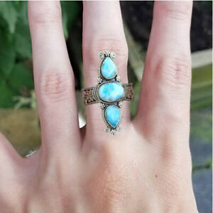 Women 925 Silver Rings Fashion Turquoise Wedding Engagement Jewelry Size 6-12